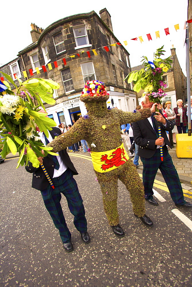 The Burryman's Parade, South Queensferry, Edinburgh, Scotland, United Kingdom, Europe