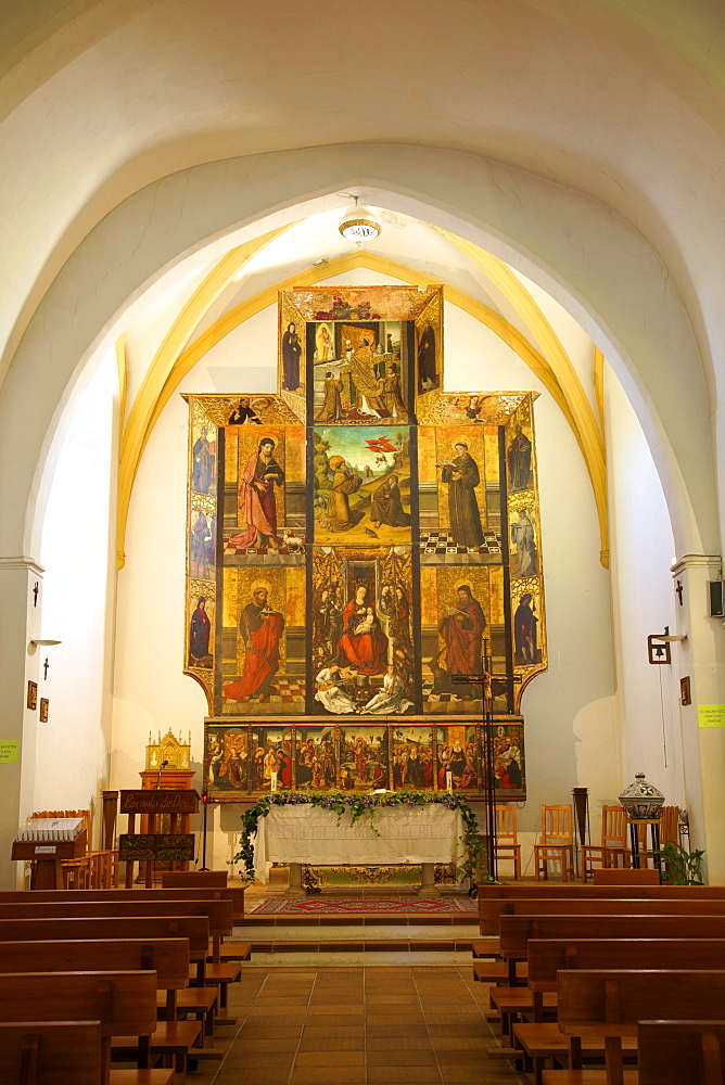 Church interior with 16th century triptych, Nuestra Senora De Jesus, Ibiza, Spain, Europe, Europe