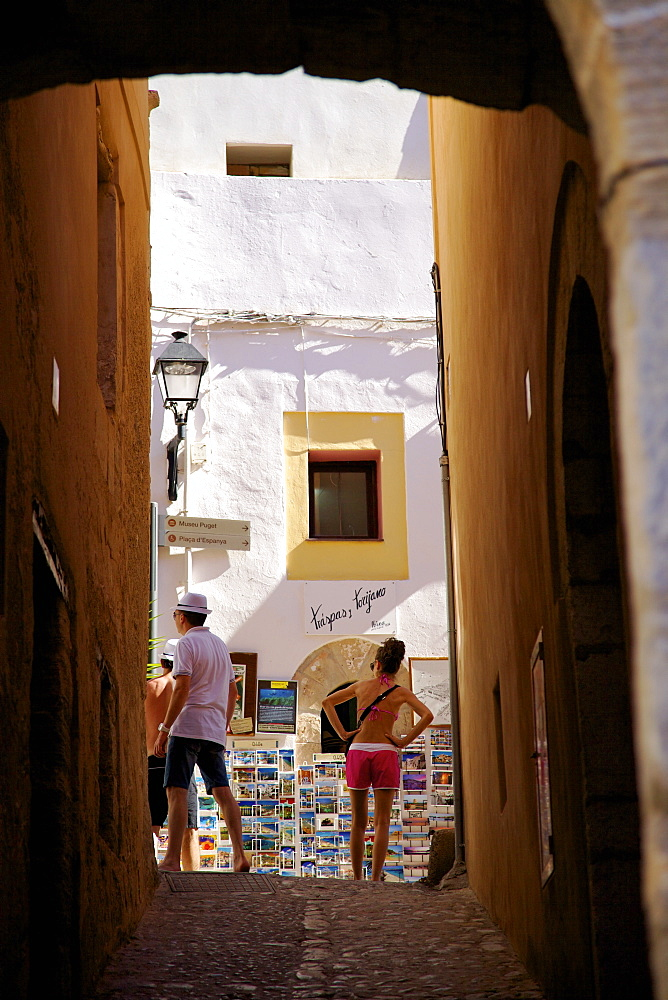Tourists, Dalt Vila, Ibiza Old Town, Ibiza, Spain, Europe