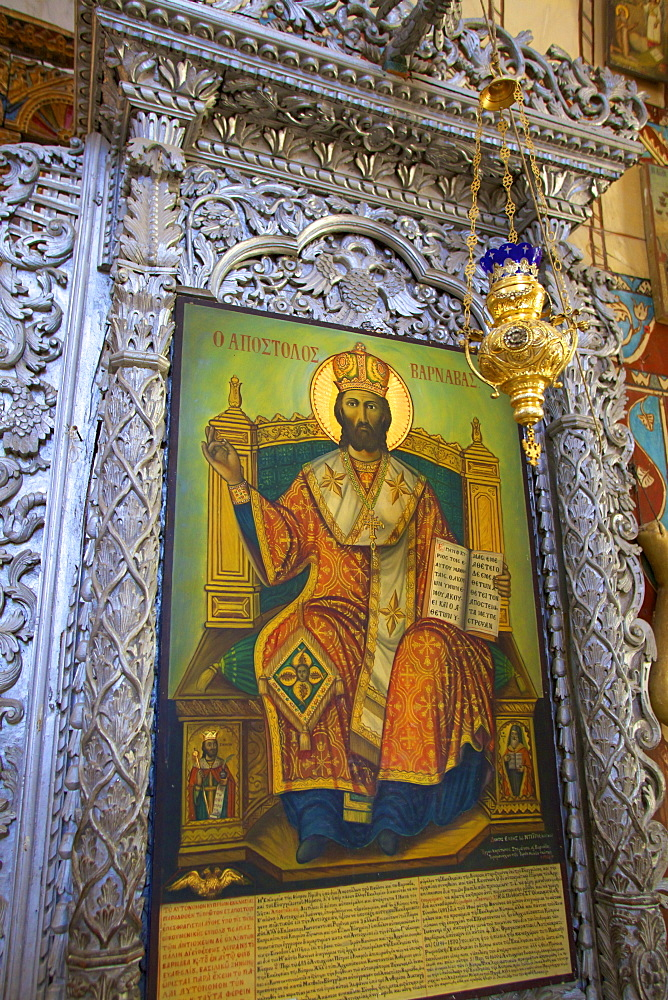 Painting of St. Barnabas in interior of St. Barnabas Monastery, North Cyprus, Cyprus, Europe