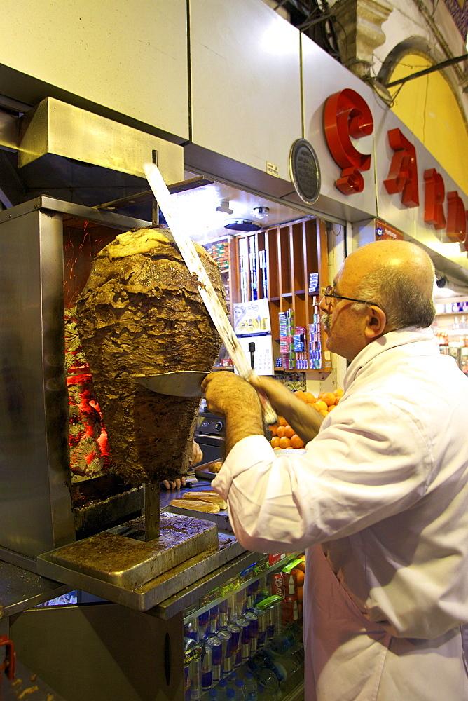 Excited adult cengiz doner food kebap turkish are