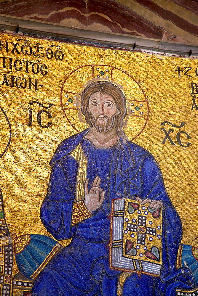 Mosaic of Christ, interior of Hagia Sophia (Aya Sofya Mosque) (The Church of Holy Wisdom), UNESCO World Heritage Site, Istanbul, Turkey, Europe