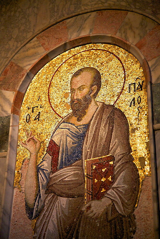 Mosaic of St. Paul, interior of Church of St. Saviour in Chora (Kariye Camii), UNESCO World Heritage Site, Istanbul, Turkey, Europe