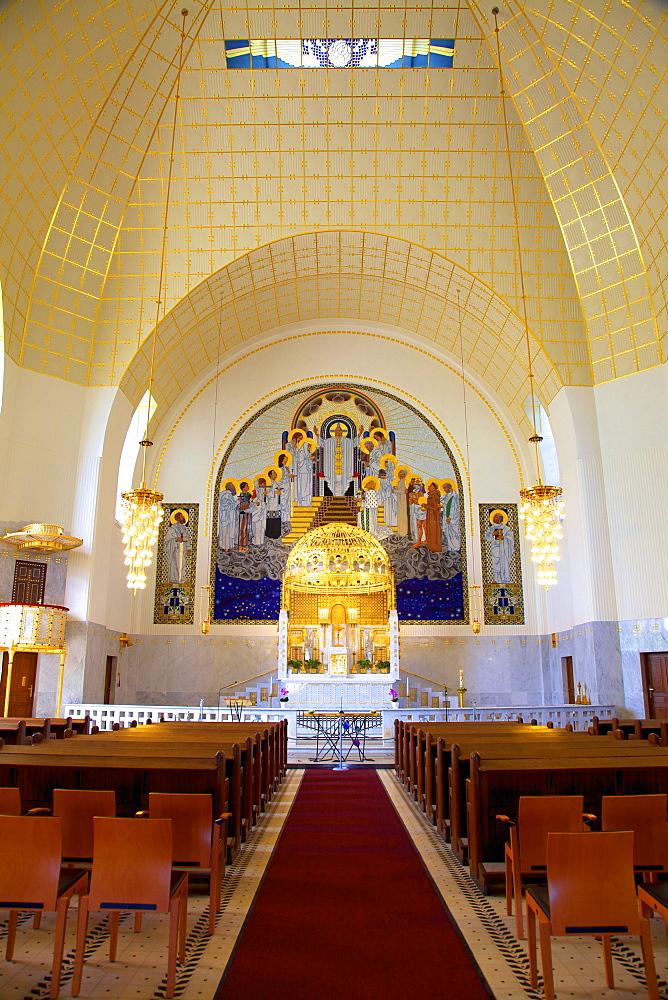 Interior of Kirche am Steinhof (Church of St. Leopold), designed by Otto Wagner, Vienna, Austria, Europe