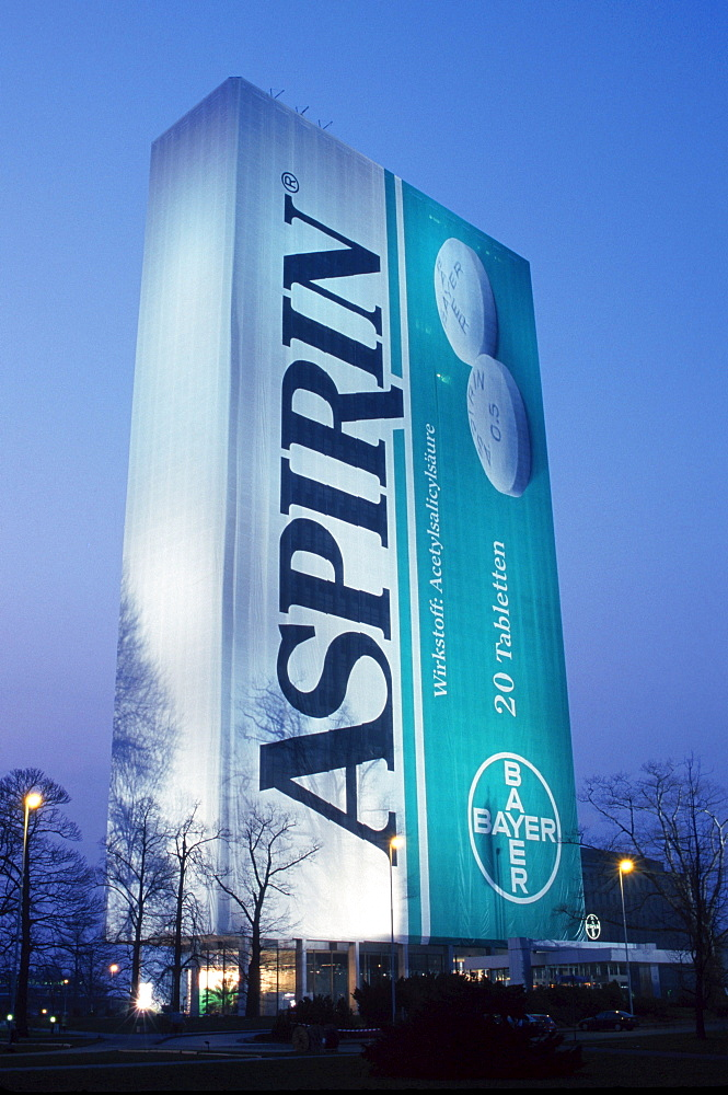 Administration tower block from Bayer packed as ASPIRIN package, 100 years ASPIRIN, Leverkusen, North Rhine-Westphalia, Germany