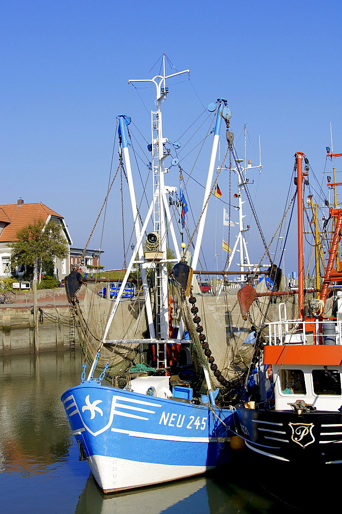 Shrimps cutter in harbour, Neuharlingersiel, Lower Saxony, Germany