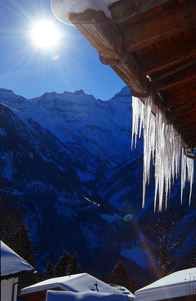 Icicles at roof, Braunwald, Glarner Alps, Switzerland