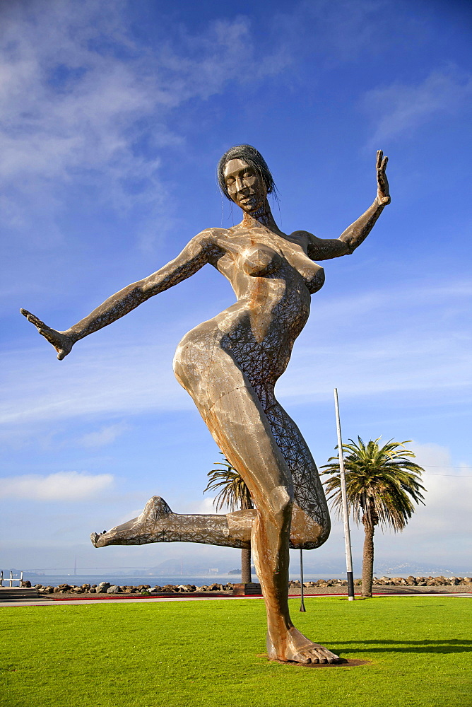 Bliss Dance, statue, naked dancing woman, by sculptor Marco Cochrane, Treasure Island, San Francisco, California, USA