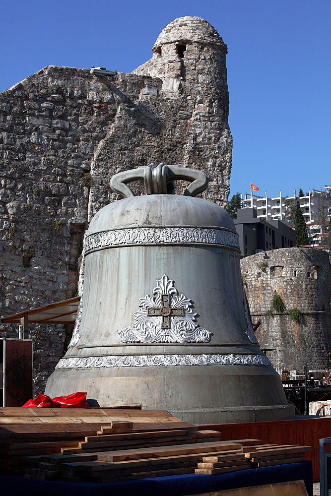 Bell, wall remains, old town, Budva, Montenegro