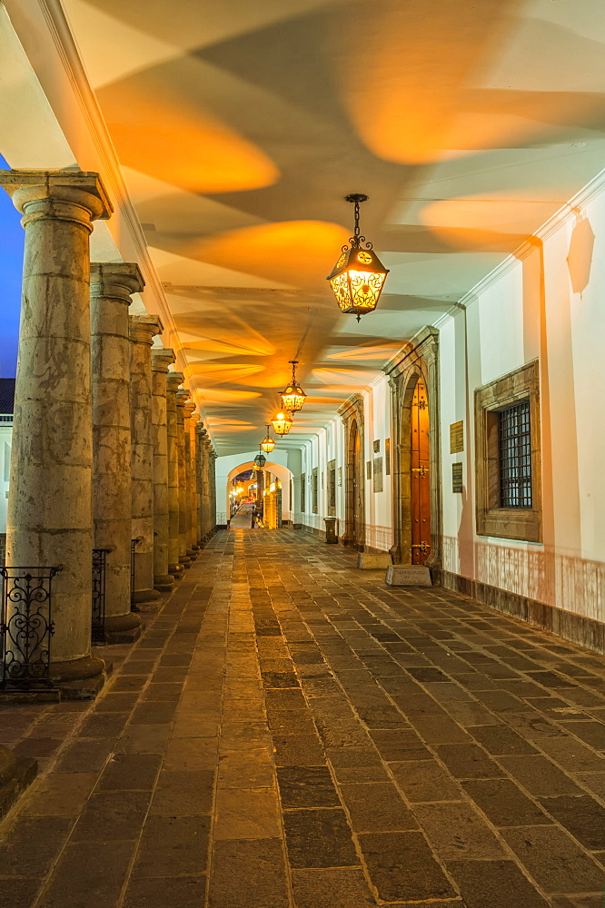 Presidential Palace at night, Quito, Pichincha Province, Ecuador, Unesco World Heritage Site