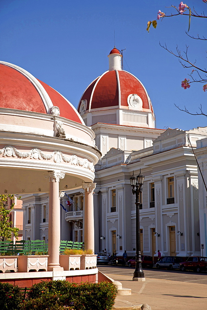 pavillon of Parque Jose Marti and the colourful Ayuntamiento City Hall in Cienfuegos, Cuba, Caribbean