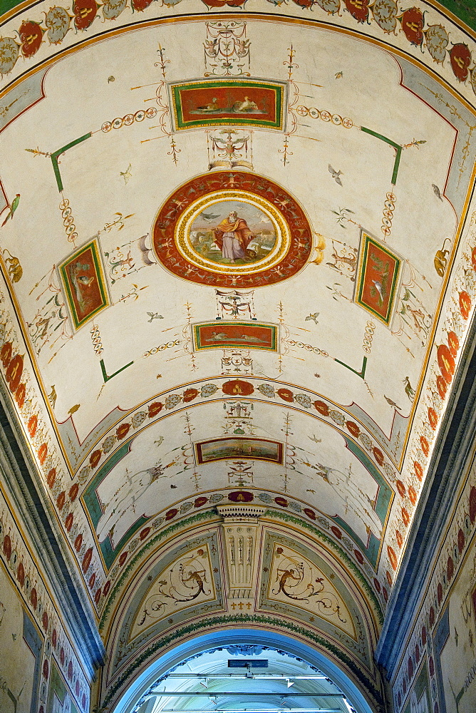 Ceiling paintings, frescos ahead stairways to museum Pio Clementino, Vatican city, Rome, Latium, Lazio, Italy, Europe / Vatican Museums