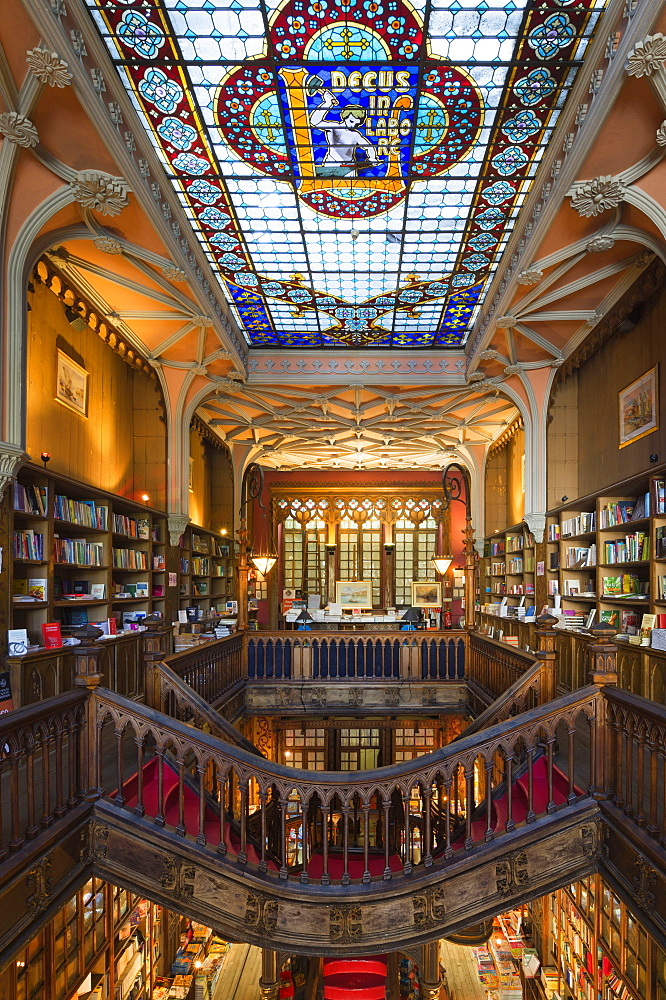 Lello and Irmao bookshop, Spiral stairs, Oporto, Portugal