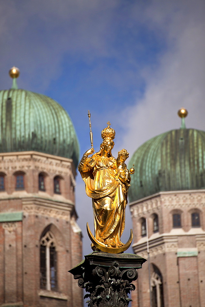 Virgin Mary, Mariensäule, Mary's columns, church towers of Frauenkirche, Munich, Bavaria, Germany / church of our Lady