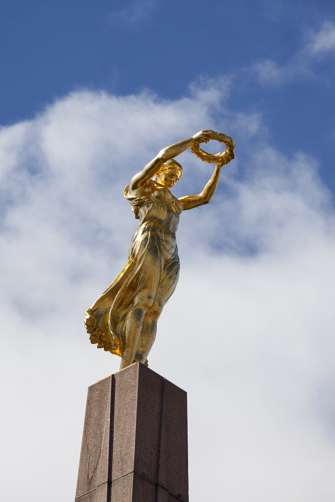 Golden woman, sculpture, memorial monument, Constitution square, Luxembourg
