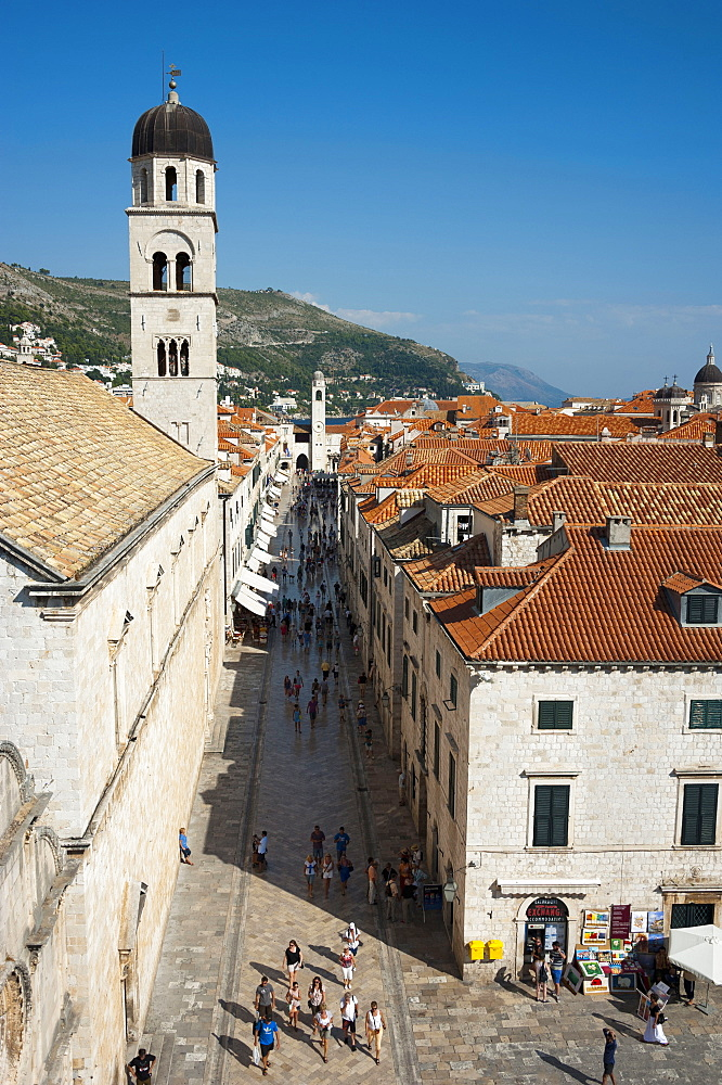 View from the city wall across historic town, Placa, Stadun, old town, Dubrovnik, Dalmatia, Croatia / Franciscan monastery