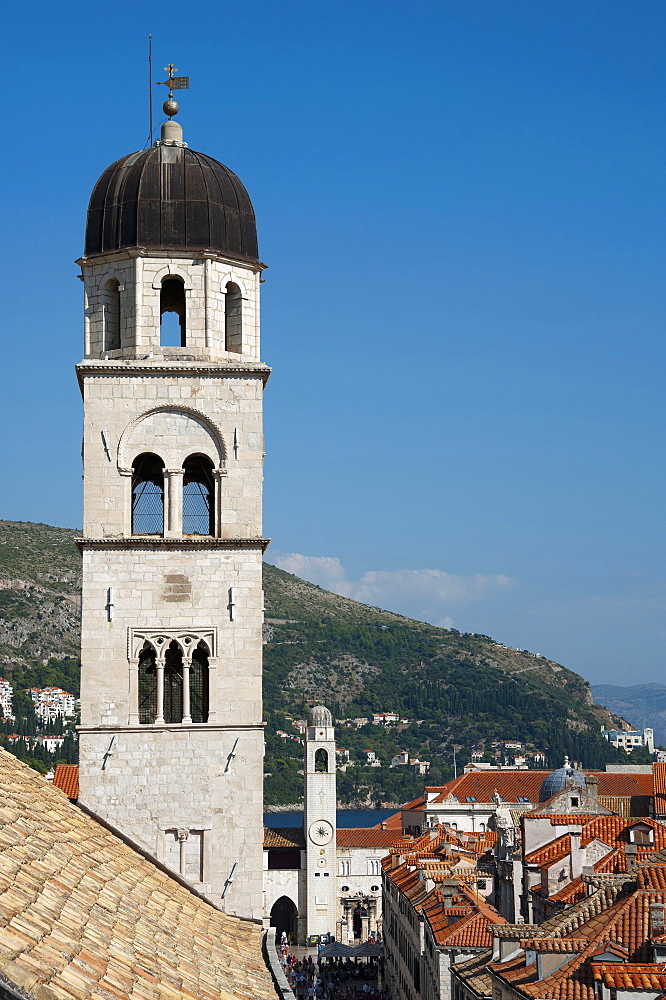 Tower of Franciscan Monastery, View from the city wall across historic town, old town, Dubrovnik, Dalmatia, Croatia