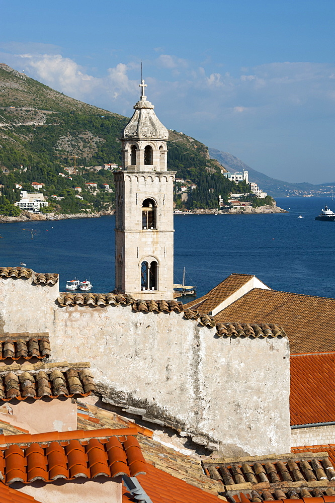 Bell tower of the Dominican Monastery, View from the city wall across historic town, old town, Dubrovnik, Dalmatia, Croatia