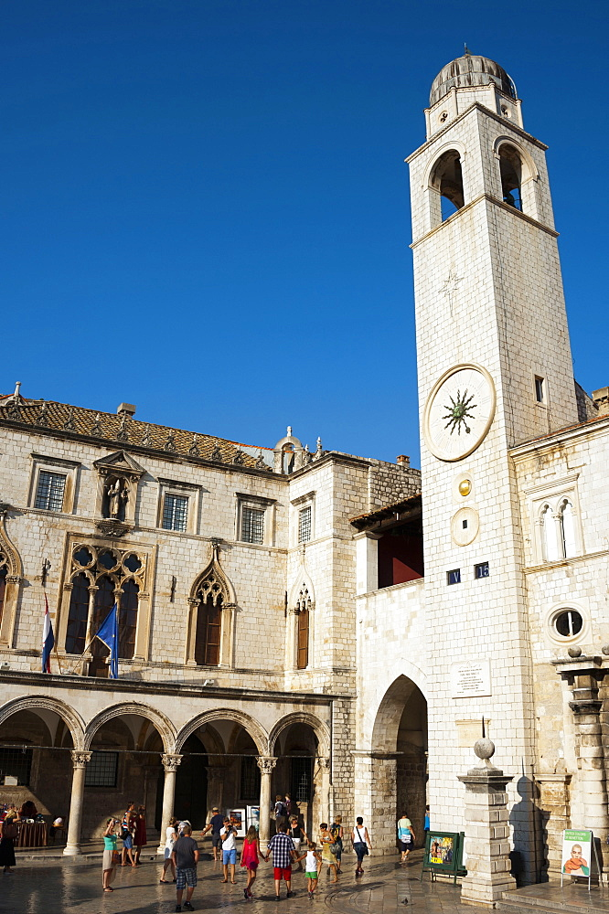 Luza square and bell tower, old town, Dubrovnik, Dalmatia, Croatia / clock tower