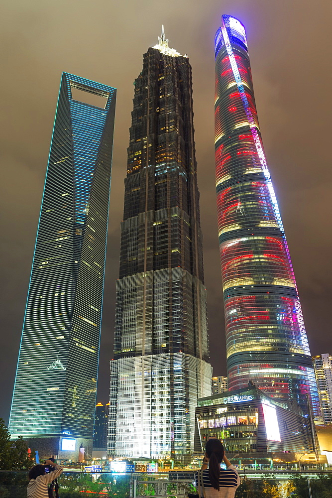 Pudong financial district at night, Shanghai, China - 1127-20246