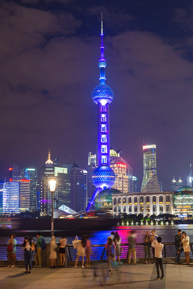 Pudong financial district skyline at night, Shanghai, China