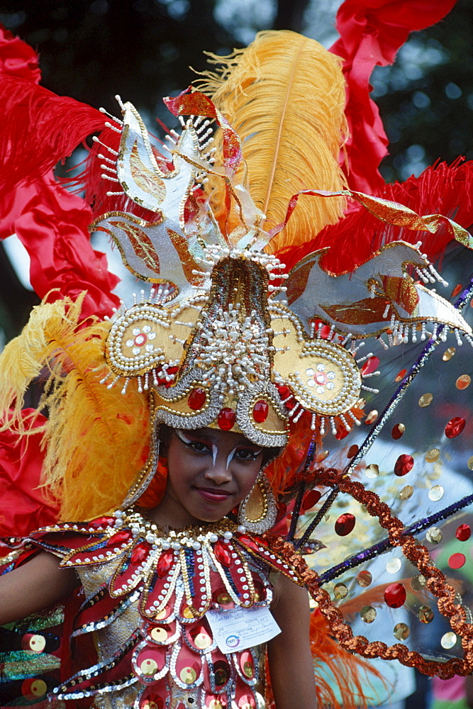 Woman with carnival outfit, Carribean carnival, Trinidad, Carribean