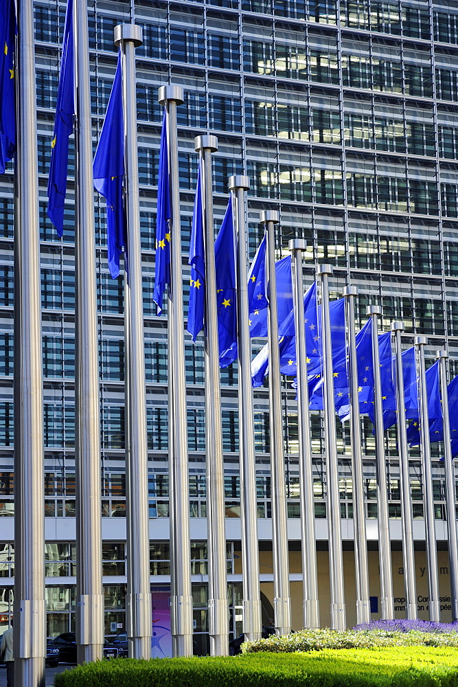 Flags in front of European Commission, Brussels, Belgium