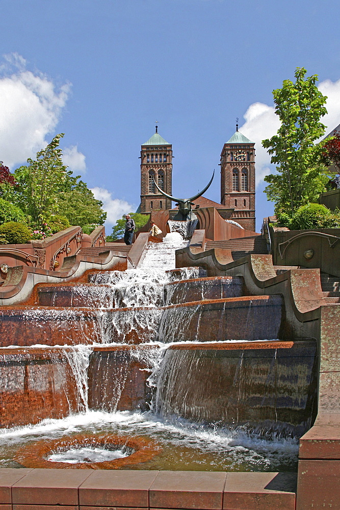 Church St Pirminius, castle fountain, Pirmasens, Rheinland-Pfalz, Germany