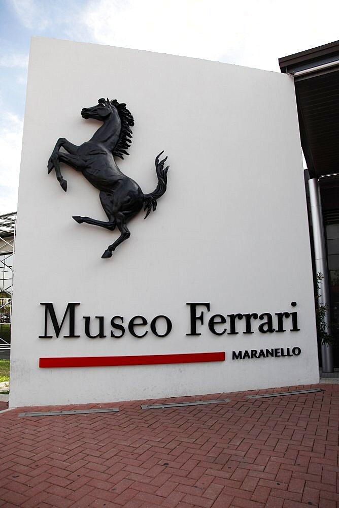 Ferrari Museum sign, Maranello, Emilia-Romagna, Italy, Europe