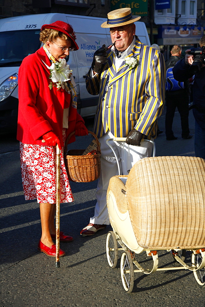 Country Lady and Gentleman with pram, Pickering, North Yorkshire, Yorkshire, England, United Kingdom, Europe