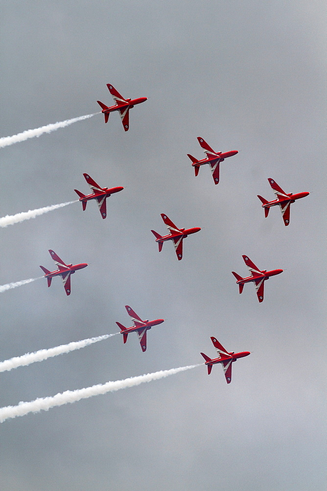 Nine Hawk T1 Jets Red Arrows, Waddington, Lincolnshire, England, United Kingdom, Europe