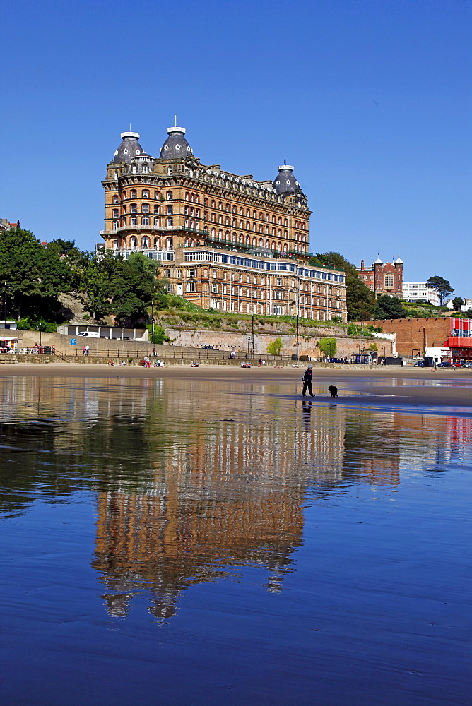 Grand Hotel and reflection, Scarborough, North Yorkshire, Yorkshire, England, United Kingdom, Europe