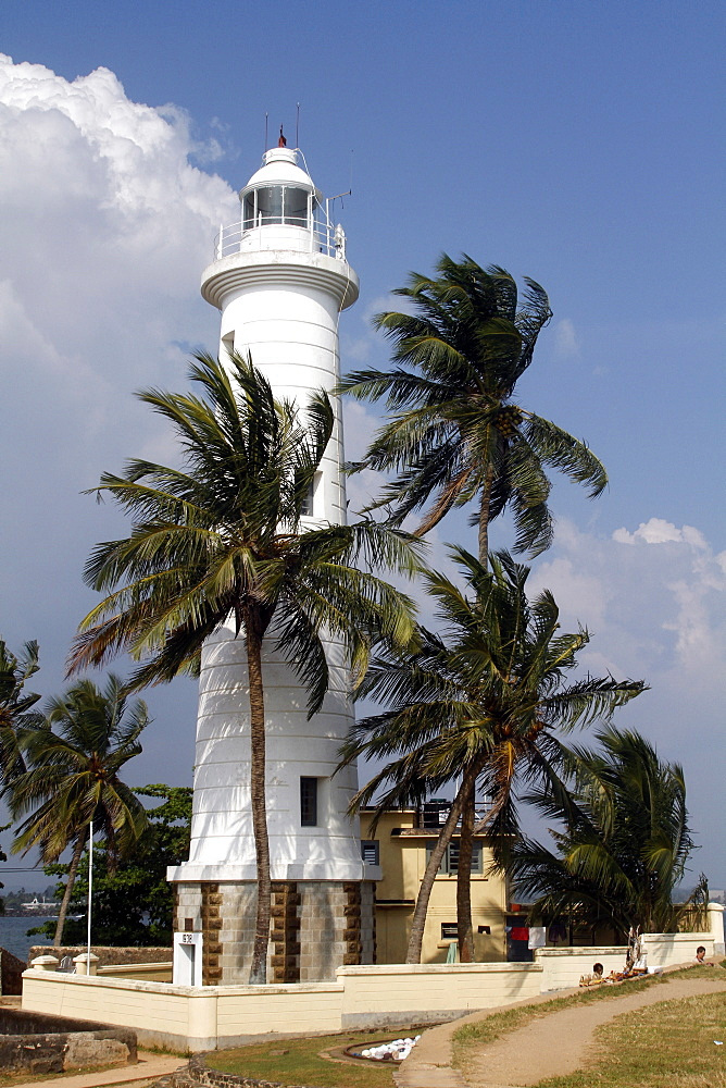 Lighthouse and coconut palm trees, Galle, Sri Lanka, Asia