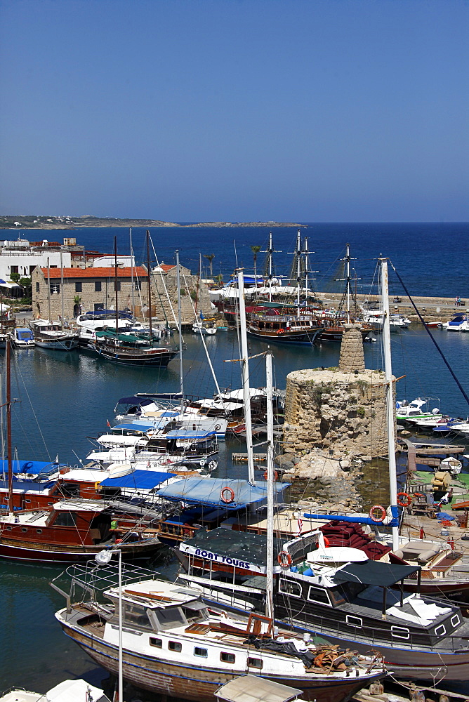 Harbour, boats and Mediterranean Sea, Kyrenia, Northern Cyprus, Europe