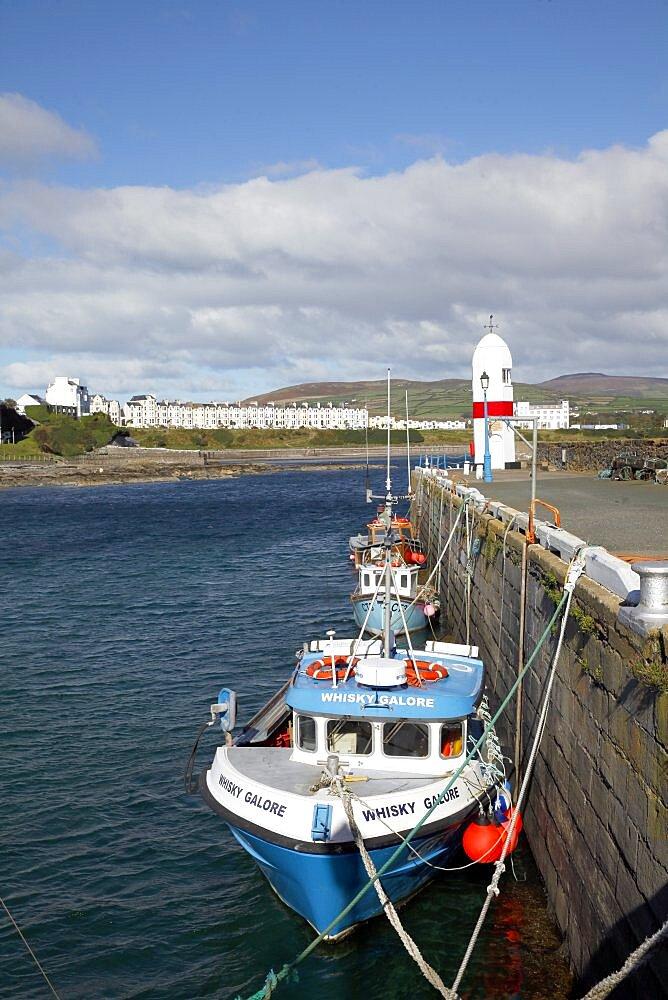 Fishing boats and Lighthouse, Isle of Man, British Isles, Europe