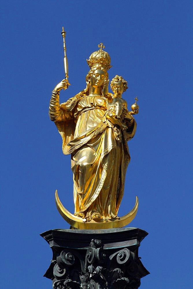 Mariensaule and gold Virgin Mary, Munich, Bavaria, Germany, Europe
