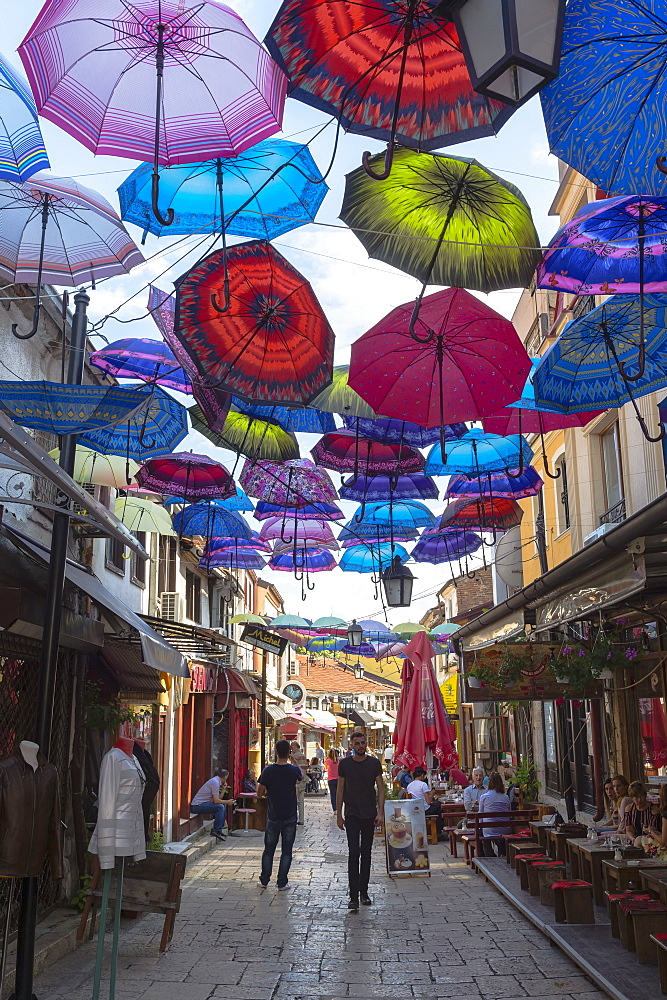 Colorful umbrellas hanging in a street, Skopje, Macedonia, Europe - 1131-1131