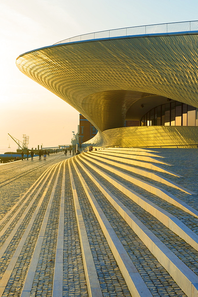 MAAT, Museum of Art Architecture and Technology at sunset, Belem district, Lisbon, Portugal