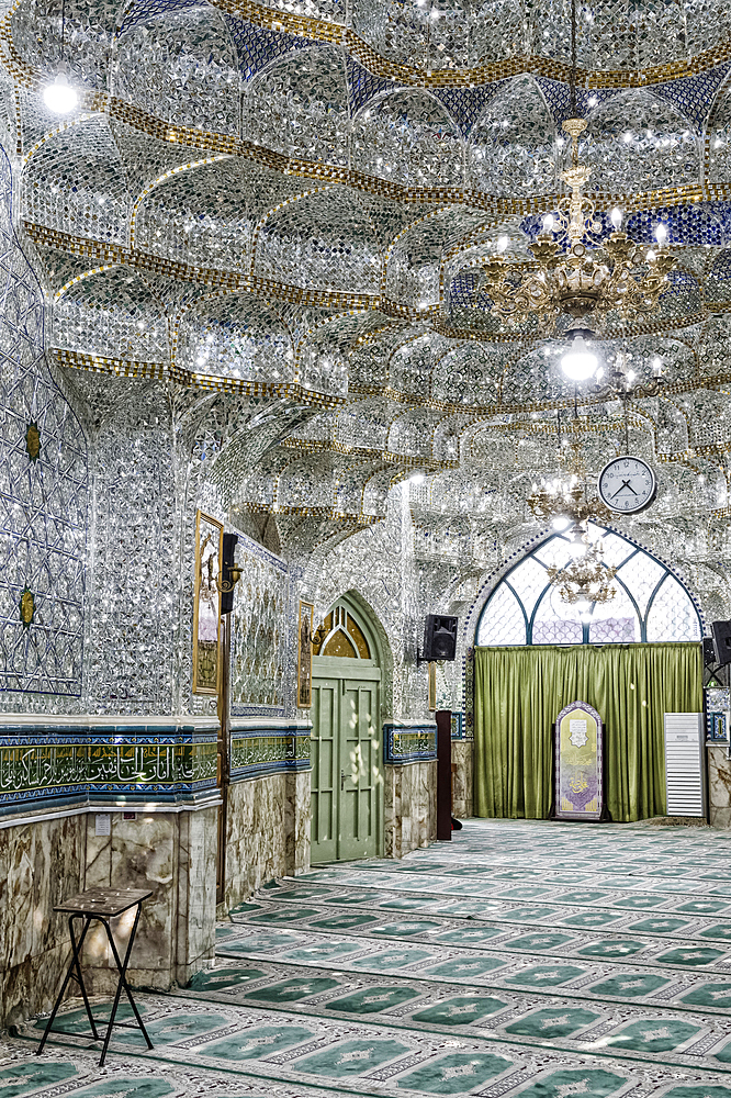 Emamzadeh Zeyd Mausoleum, entrance hall decorated with mirrors, Tehran, Islamic Republic of Iran, Middle East - 1131-1268