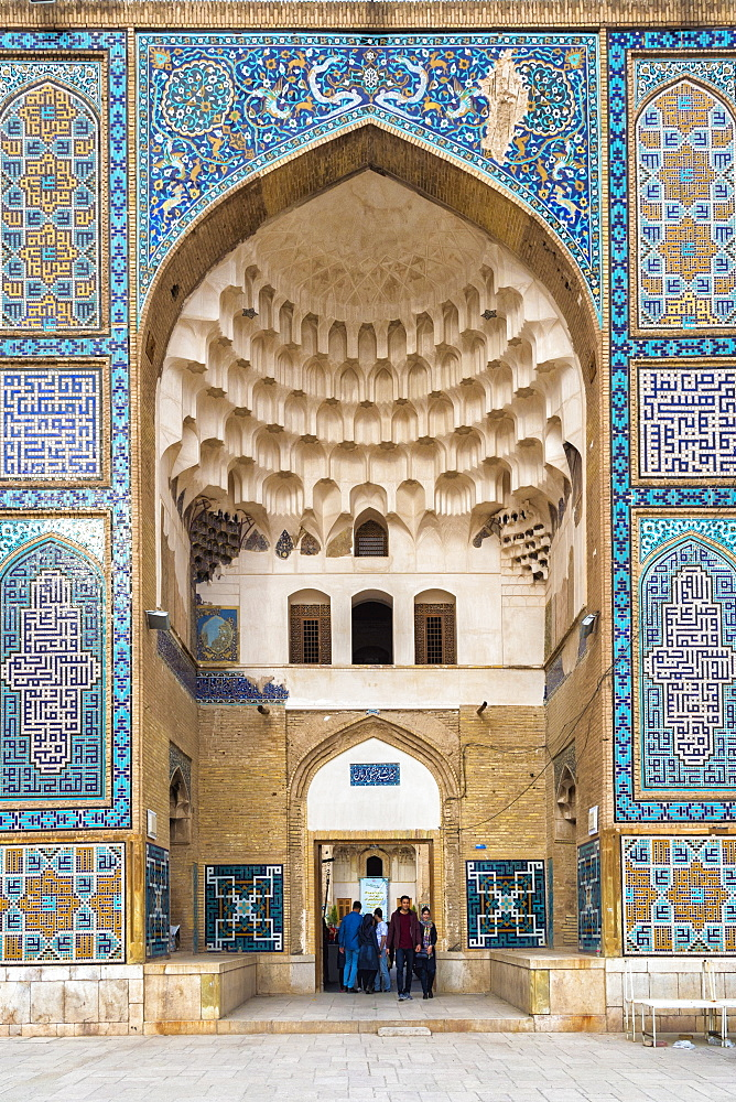 Meydan-e Gandj-e Ali Khan Square, portal decorated with painted blue ceramic tiles, Kerman, Kerman Province, Iran, Middle East