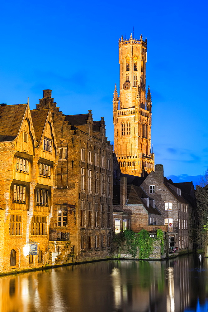 Belfry at twilight, Historic center of Bruges, UNESCO World Heritage Site, Belgium, Europe