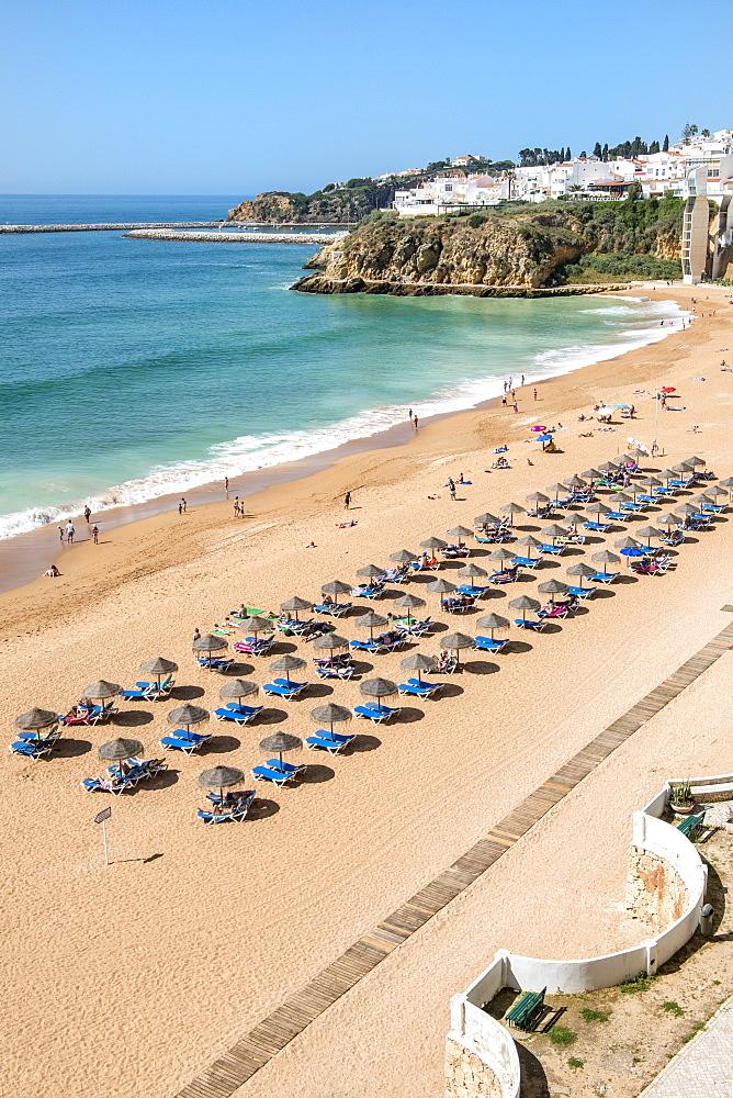 Fisherman beach, Umbrellas and beach chairs, Albufeira, Algarve, Portugal, Europe