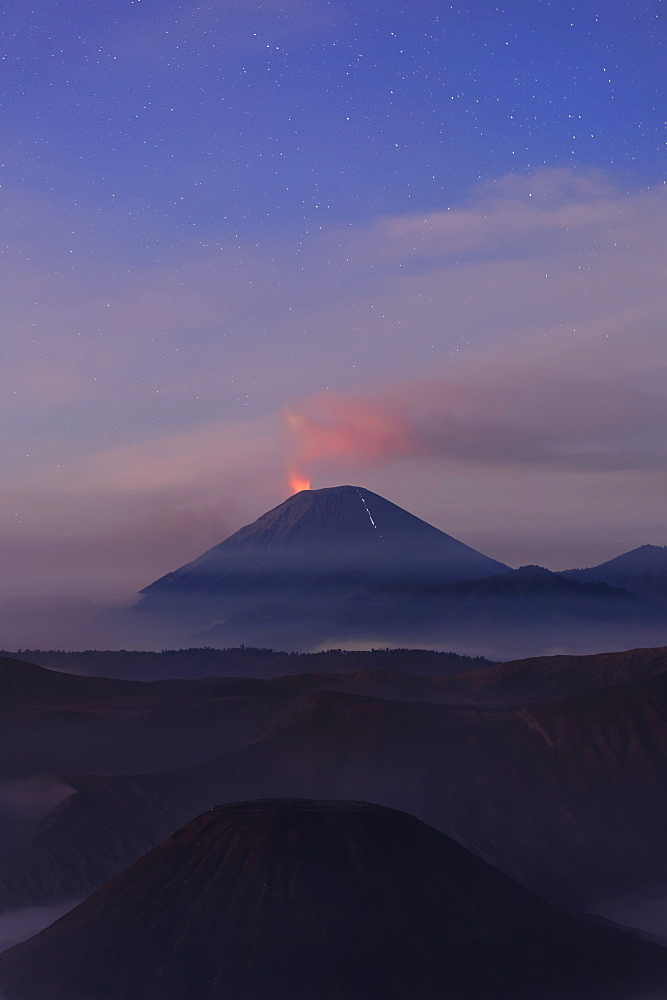 Active Gunung Bromo volcano at night, Bromo-Tengger-Semeru National Park, Java, Indonesia, Southeast Asia, Asia