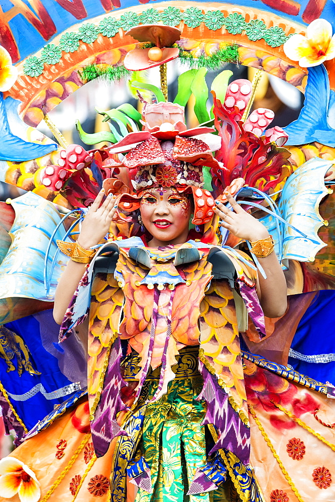 Stock photo of a child performer at Jember Fashion Festival and Carnival, East Java