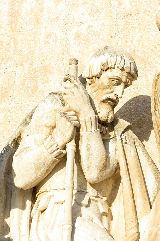 Detail of statue on the Padrao dos Descobrimentos (Monument to the Discoveries), Belem, Lisbon, Portugal, Europe
