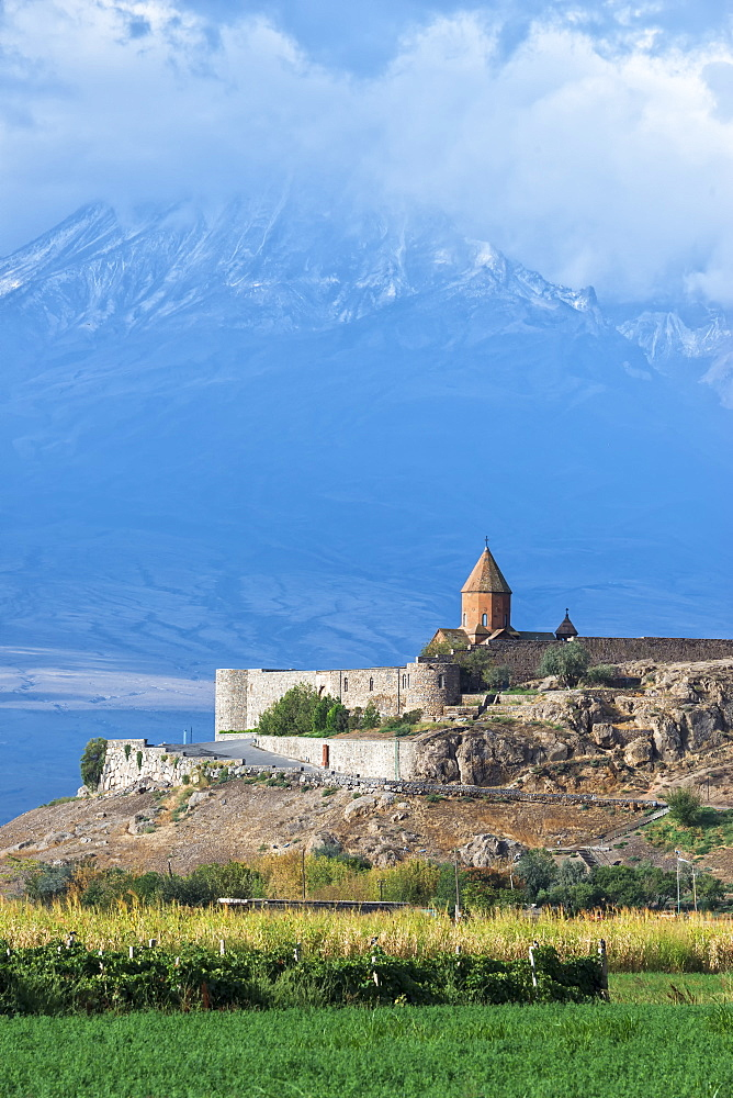 Khor Virap Monastery and Apostolic church at the foot of Mount Ararat, Ararat Province, Armenia, Caucasus, Asia