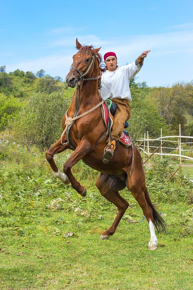 Man on a rearing horse, Kazakh ethnographical village Aul Gunny, Talgar city, Almaty, Kazakhstan, Central Asia, For editorial Us