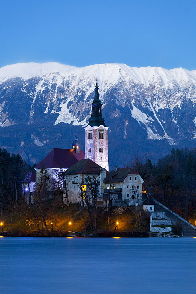 The Assumption of Mary Pilgrimage Church on Lake Bled at Dusk, Bled, Slovenia, Europe