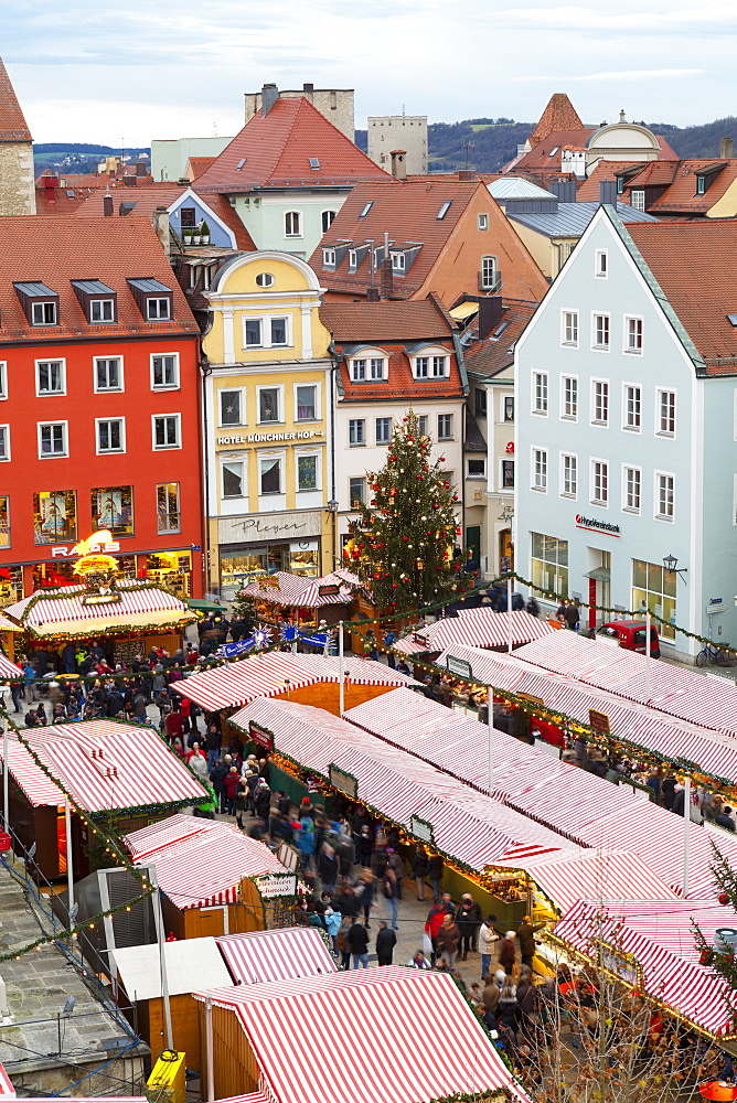 Overview of the Christmas Market in Neupfarrplatz, Regensburg, Bavaria, Germany, Europe