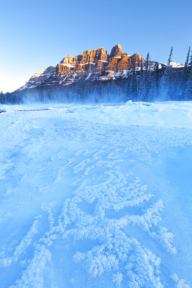 Castle Mountain and the Bow River in Winter, Banff National Park, Alberta, Canada, North America